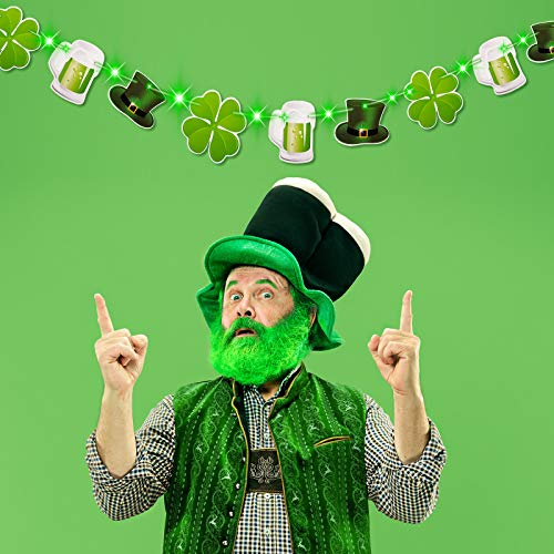 Hiboom St. Patrick's Day Decoration Banner Lucky Shamrock Clover Leprechaun Hat Beers Garland Banner with 8 Modes Green String Lights for Irish Party Supplies