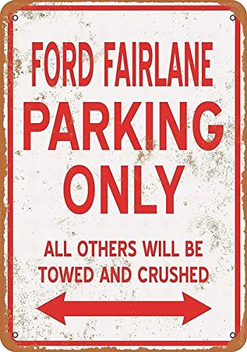 YUZHI 8 x 12 Metal Sign - Ford Fairlane Parking ONLY - Vintage Wall Decor Art