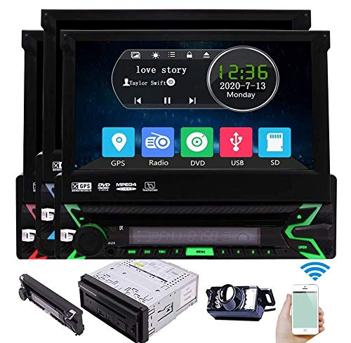 Eincar Single Din Car Stereo Bluetooth Car DVD Player Touchscreen Radio 7 Inch Detachable Panel Vehicle Headunit Free 8GB GPS Map Card Backup Camera Autoradio Receiver CD Aux subwoofer RDS