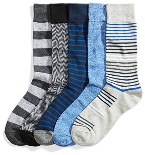 Amazon Brand - Goodthreads Men's 5-Pack Patterned Socks, Assorted Cobalt, One Size
