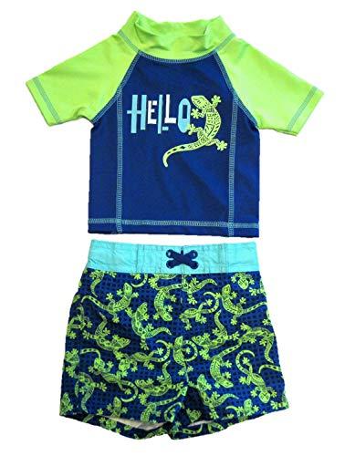 Mick Mack Toddler Boys' Two Piece Swim Trunks and Shirt Set, Hello Gecko (12M) Blue