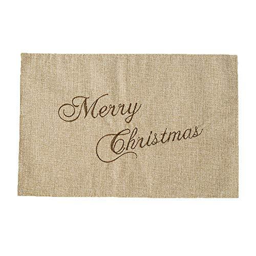 Jute Tapis de Table Pere Noel Motifs en lin Napperon Sets de Table Noel Decoration 45cmx30cm (Beige)