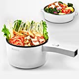 Small Hot Pot, Electric Mini Pot with Stainless Steel Steamer, Non-stick Pot and Adjustable Temperature (700W) for Rapid Noodles Cook, Egg, Steak, Steam, Oatmeal and Soup Maker - Pure White