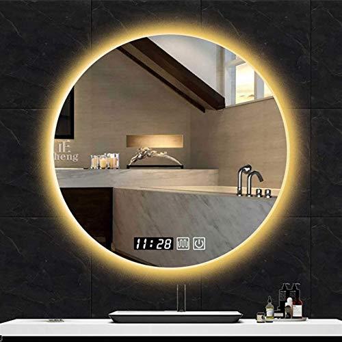 Espejo LED Deluxe - Espejo montado en la pared del baño iluminoso LED, espejo de baño con retroiluminación LED, espejo sin marco a prueba de explosiones, luz blanca / luz cálida, borde pulido sin marc