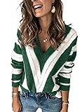 Dokotoo Suéter de Punto para Mujer Suéter Informal con Cuello en V Top cálido Tops Suéter de Rayas Elegante Otoño Invierno Sudadera Verde L