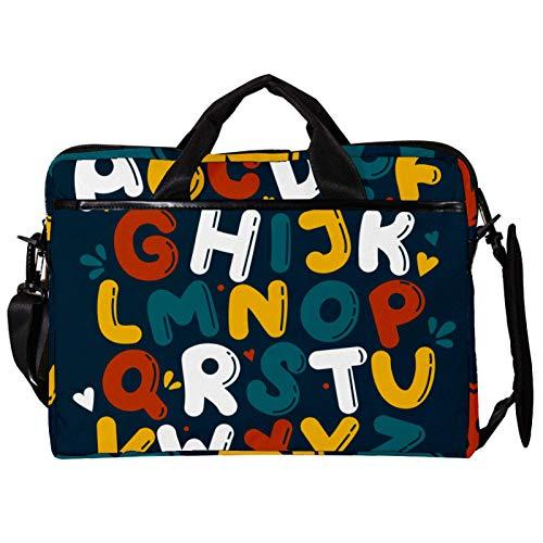 Unisex Computer Tablet Satchel Bag,Lightweight Laptop Bag,Canvas Travel Bag,13.4-14.5Inch with Buckles Dark Green English Capital Letters Alphabet