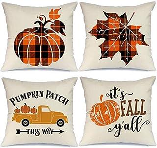 AENEY Fall Pillow Covers 16x16 Set of 4 Farmhouse Fall Decor Pumpkin Truck Black and Orange Buffalo Check Plaid Throw Pillows Autumn Decorative Cushion Cases for Sofa Couch Fall Decorations A247-16