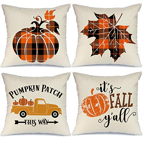 AENEY Fall Pillow Covers 18x18 inch Set of 4 Truck Pumpkin Patch Leaves Buffalo Check Throw Pillows for Fall Decor Farmhouse Fall Thanksgiving Decorations Decorative Pillows