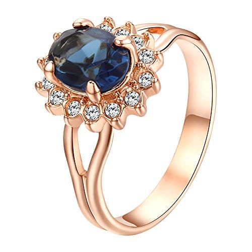Yoursfs Prinzessin Diana Ringe Oval Zirkonia blau Verlobungsring für Frauen