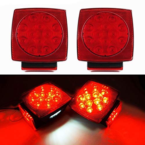 "iBrightstar IP68 Waterproof Square Trailer Lights kit, Red Brake Stop Tail Running License LED Light Lamp for 12V Camper Truck RV Boat Snowmobile Marine Under 80"", DOT Compliant"