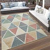 Paco Home Alfombra Interior Y Exterior Moderna Terrazas Rombos Diseño Geométrico Colorida, tamaño:160x230 cm