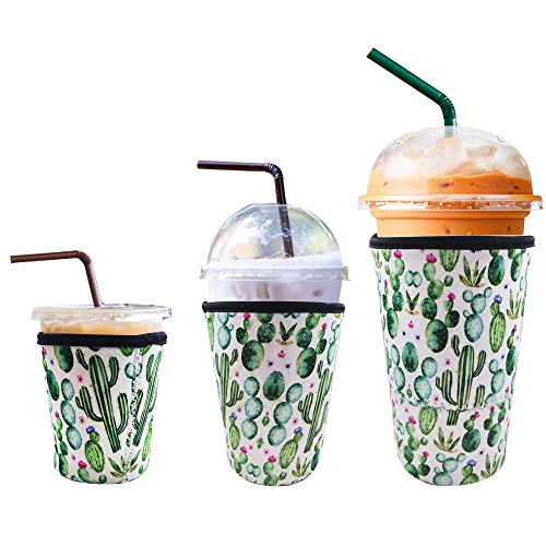 3 Pack Reusable Iced Coffee Sleeve | Insulator Cup Sleeve for Cold Drinks Beverages | Neoprene Cup...