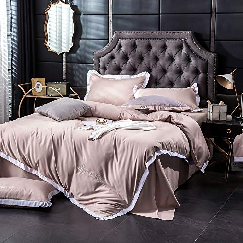 YJHH Bedding Set Duvet Cover Set Satin Embroidery Hypoallergenic, with Ruffles, Silky And Shiny, Invisible Zipper Quilt Tie, 3 Pieces (1 Duvet Cover + 2 Pillow Shams), Vintage,Brown,220x240cm
