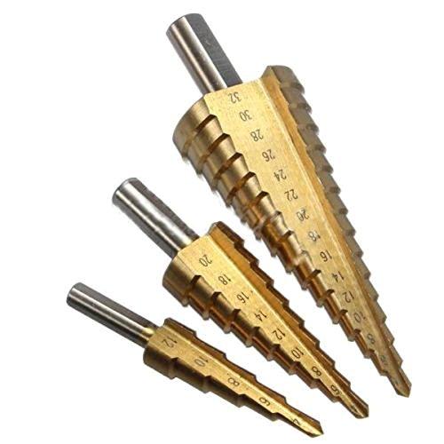 Malayas 3 piezas Juego de brocas escalonadas 4-12/20/32 mm, de acero HSS