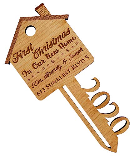 First Christmas in Our New Home Wooden Key Shape Ornament - with Gift Box (Personalized)