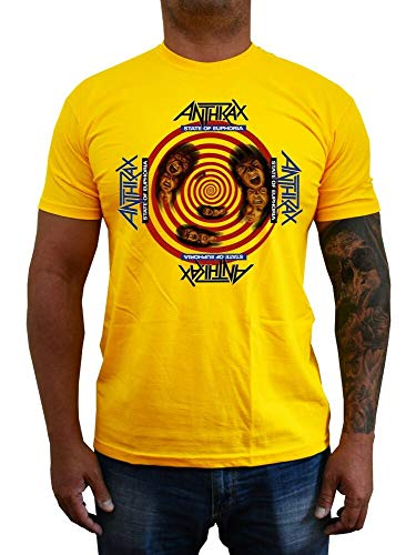 Anthrax State of Euphoria T-Shirt Band Album Cover Hard Rock (Yellow) S-5XL