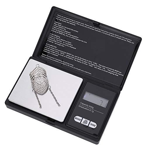 wifehelper Digitale Taschenwaage, Mini Portable High Precision Smart-Waage Mit LED-Anzeige für Schmuck Drogenkaffee Kochen(500g/0.1g)