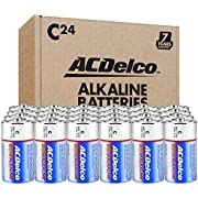 ACDelco 24-Count Size C Alkaline Batteries, Super Alkaline Battery, 7-Year Shelf Life, Recloseable Packaging