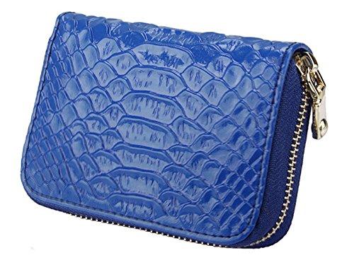 iSuperb® Elegant RFID Kreditkartentaschen Geldbörse Leder Geldbeutel Ziehharmonika Kreditkartenhüllen mit Reissverschluss Wallet für Damen Mädchen 11.5x8x3.5cm (Blau)