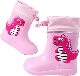 Botas de Agua Unisex Niños Niñas Luces Wellington Botas de Lluvia Impermeable y Antideslizante Rain Boots