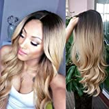 HANNE Long Wavy Synthetic Hair Ombre Blonde Wigs For Black and White Women High Density Glueless Cosplay Party Wigs/Daily Wig (4/Blonde)