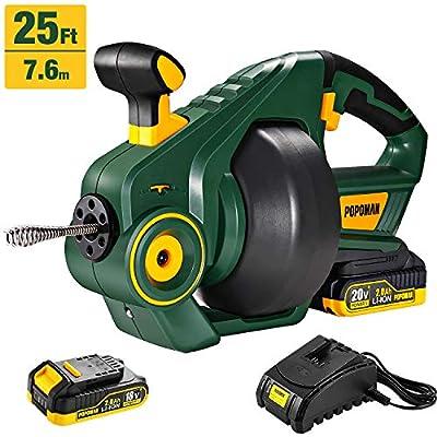Drain Auger, POPOMAN Cordless Drain Snake 25Ft Automatic Electric Drain Clog Remover, 20V MAX 2000mAh Li-Ion, Replaceable Flexible Shaft - MTW700B