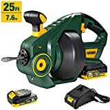 Drain Auger, POPOMAN Cordless Drain Snake 25Ft Automatic Electric Drain Clog Remover, 20V MAX 2000mAh Li-Ion, Replaceable Flexible Shaft - MTW700B