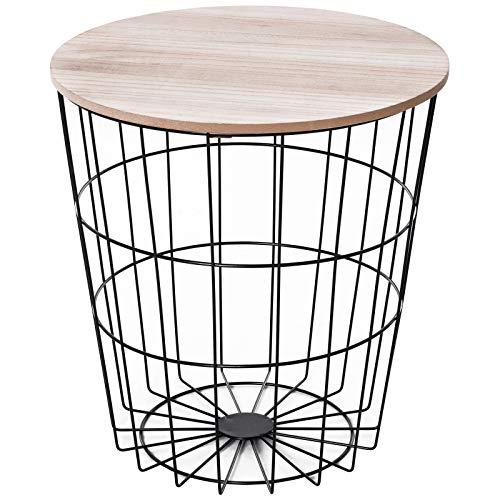 homcom Tavolino Contenitore da Salotto, Tavolino da caffè Rotondo con Design Moderno in Legno e Metallo Nero Φ39.5x43cm