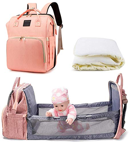 3 in 1 Diaper Bag Backpack Large Capacity Waterproof Travel Baby bassinets Foldable Baby Bed-Maternity Nappy Bag Changing Bag with Mattress,Best Assistant for Mom and Dad Going Out with Baby