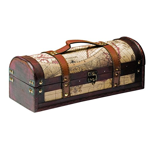 Chateau 1 Bottle Old World Wooden Wine Box by Twine – (Wood, Faux Leather)