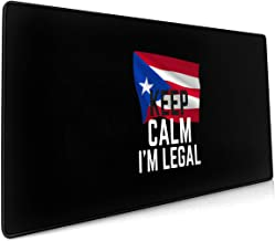 Keep Calm I'm Legal Puerto Rico Flag Personalized Gaming Mouse Pad Large Size 15.8x35.5 Inch Keyboard Mousepad Mouse Mat Non-Slip,Durable Stitched Edges, Ideal for Office, Gaming