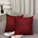 Vioaplem Kissenhüllen Stickerei Streifen Polyester Baumwolle Leinen Wurf Kissenbezug zum Couch Sofa Schlafzimmer Zuhause 45x45cm Rot 2 Stück
