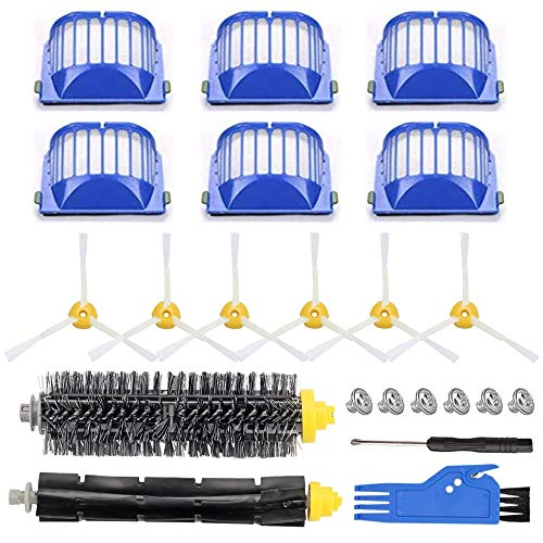 Replacement Parts for iRobot Roomba 600 Series 690 680 660 651 650 614 610 500 Series 595 585 564 552 Vacuum, Replenishment Kit 6 Filters, 6 Side Brushes, 1 Set Bristle and Beater Brush ,2 Tools