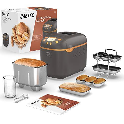 Imetec La Panetteria + Zeroglu, Maschine für glutenfreies Brot, Desserts, Marmelade, Pizzateig, 16 automatische Programme, 1 kg Kapazität, 3 Bräunungsgrade, Rezeptbuch, programmierbarer Start, 920 W.