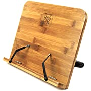 H&S Book Stand Bamboo Recipe Cookbook Holder Stand Kitchen Adjustable Bookrest Reading Rest