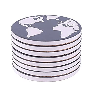 Coasters for Drinks 8-Piece Absorbent Stone Coaster Set for Drink - Black and White Earth World Map drink  spills coasters