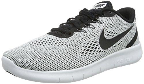 Nike Kids Grade School Free RN Running Shoes (White/Black, 6.5)
