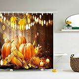 IcosaMro Kürbis-Duschvorhang für Badezimmer mit Haken, Erntedankfest Herbst Dekoration Badezimmer Vorhänge 71Bx72L, Gelb