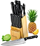 Knife Set With Wooden Block - 15 Piece Set Includes Chef Knife, Bread Knife, Carving...