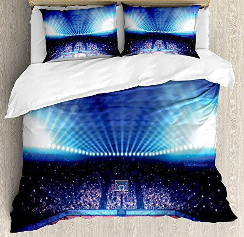 Ambesonne Sports Decor Duvet Cover Set, Basketball Arena Court with Fans and Flashlights Competition Theme Game Excitement Print, 3 Piece Bedding Set with Pillow Shams, Queen/Full, Navy Black