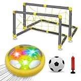 VEPOWER Kids Hover Soccer Ball Toys Set, USB Rechargeable Floating Air Soccer with Led Light, 2 Goals and Inflatable Ball for Indoor Outdoor Games Sport Toys Kit for Kids Boys Girls Ages 3 4 5 6 7-12