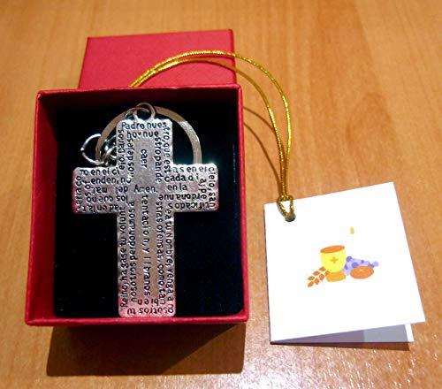 Llavero Religioso Católico Cruz Oración Padre Nuestro Grabado de Acero inoxidable Plateado para Hombres, Mujeres, Comuniones - Joyería de Regalo Religioso