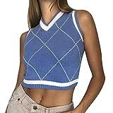 Loozykit - Gilet da donna, lavorato a maglia, per la scuola, senza maniche, con scollo a V, elastico, per autunno e inverno, maglia uniforme B-blu 1 L