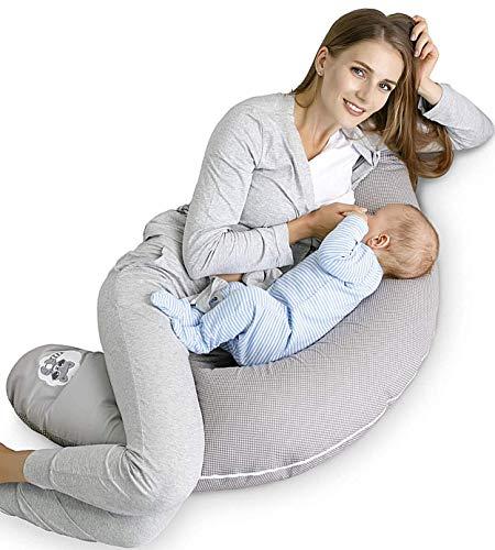 Qualità bambino cuscino gravidanza di cura di Sei Design 170 x 30cm, riempimento costituito da fiocchi di fibre - molto morbido e confortevole. Coprire con zip e ricamo di alta qualità. (Tempera procione, Riempimento : fiocchi di fibre)