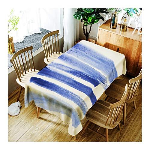 ZHAOXIANGXIANG Minimaliste Élégant Tapis De Table Lavable Creative Rayé Bleu Décoration D'Intérieur Nappe d'impression,90Cm×130Cm