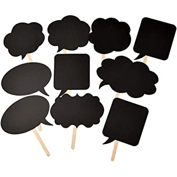 Photo Booth Props Kit,Writable Black Paper Card Board Photographing Props for Wedding Birthday Prom Party Favor(10pcs with Different Shapes)