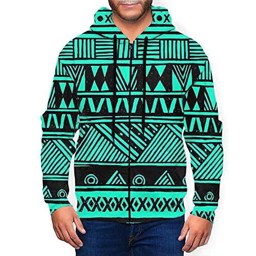 Sudadera con capucha para hombre con capucha y diseño tribal azteca en 3d con estampado de cremallera