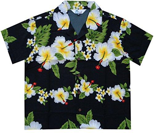 Alvish - Camisas hawaianas para niños con estampado de flores de hibisco, playa Aloha Party Camp de manga corta