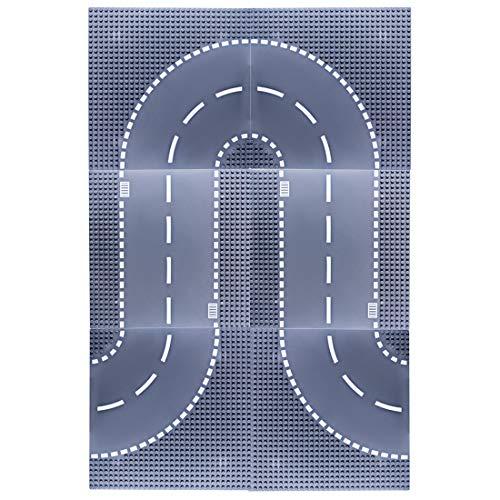Seciie 6 Stück Bauplatten Set für Straßen - Bauplatten für Straßen, Städte, Garagen - Straßen-Platte für Autos und Spiel-Zeug - Kompatibel mit Allen Führenden Marken