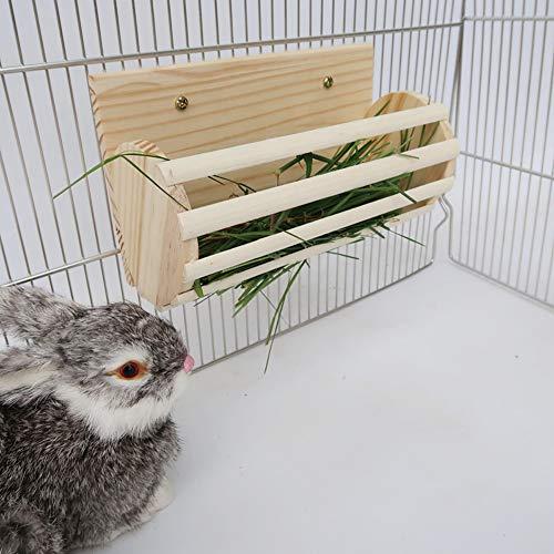 N/A Home For Rabbit Holz Heuraufe Ständer Grasfutter Halter Pet Feeder für Chinchilla Meerschweinchen Burlywood
